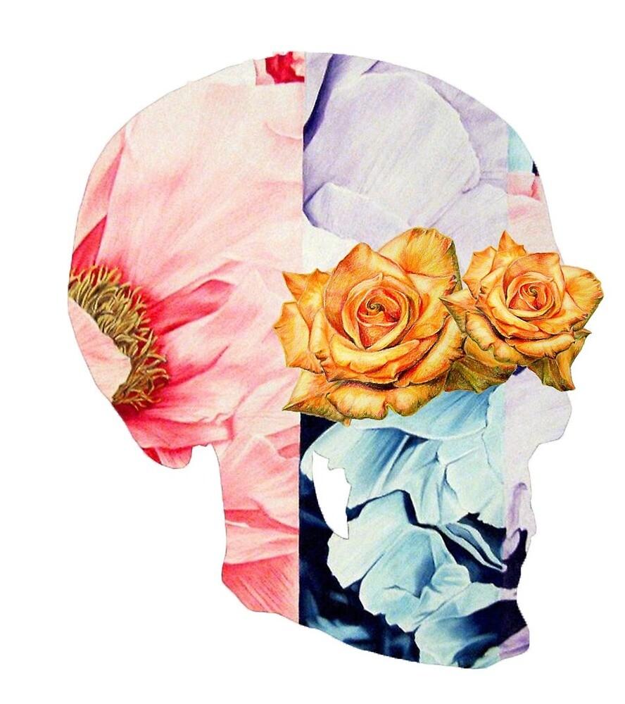 Flower Skull Whit Rose Eyes by okmarin