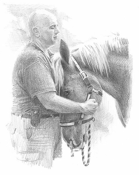 strong friends man & horse drawing by Mike Theuer