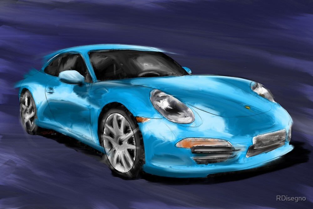 Porsche 911 991 blue Painting by RDisegno