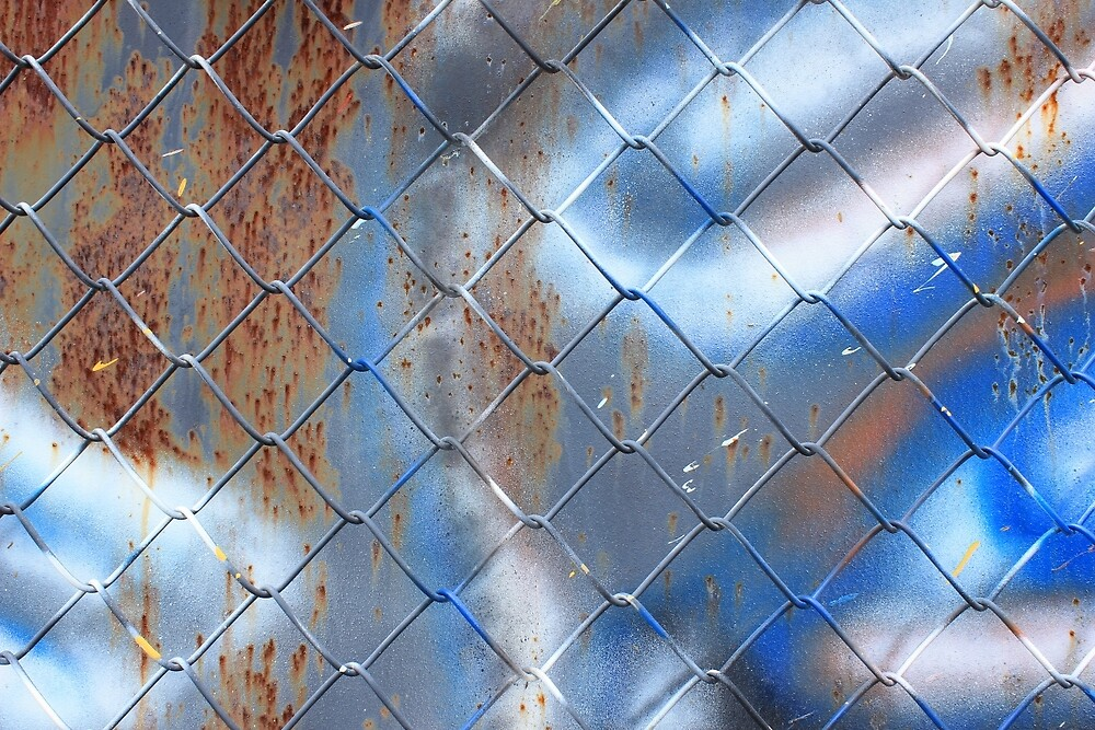 Chain Link Fence and Painted Wall by rhamm