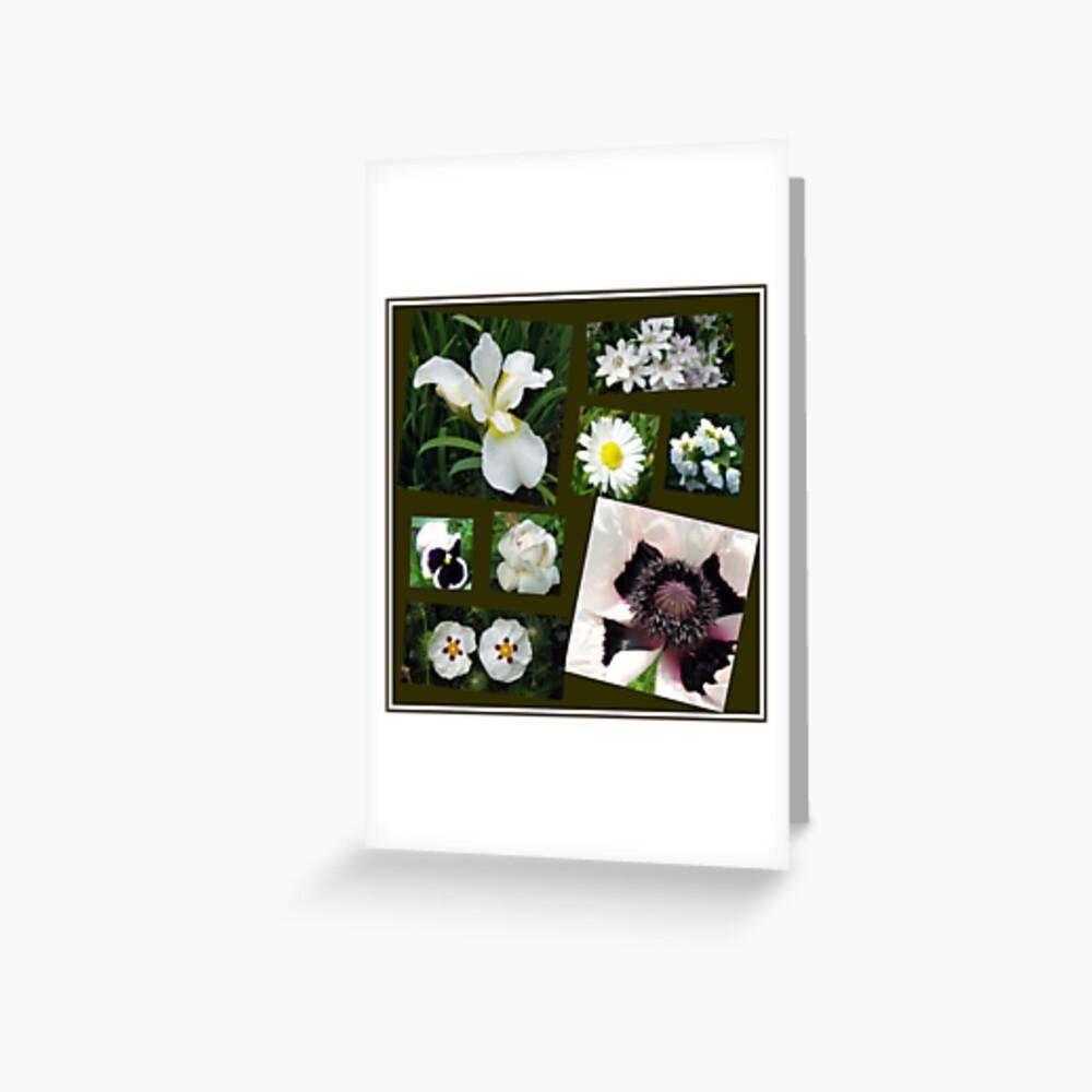 White Summer Flowers Collage Grußkarte