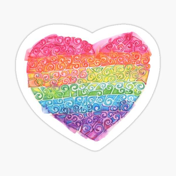 Watery Rainbow Swirl Heart Drawing - 2016 Sticker