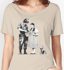 "Banksy ""Stop and Search"" Women's Relaxed Fit T-Shirt"