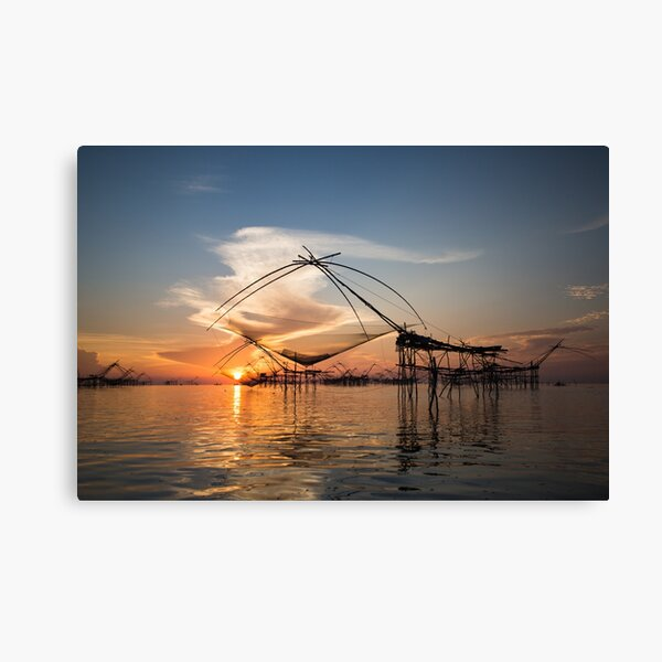 Fishnets in the wetlands in Phattalung, Thailand Canvas Print