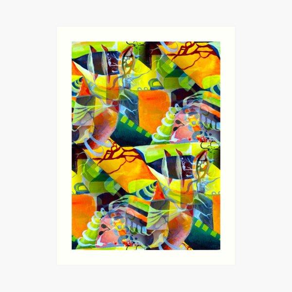 Surrealism Multicolored Pop Art Culture Vivid Dreams in Watercolor Art Print