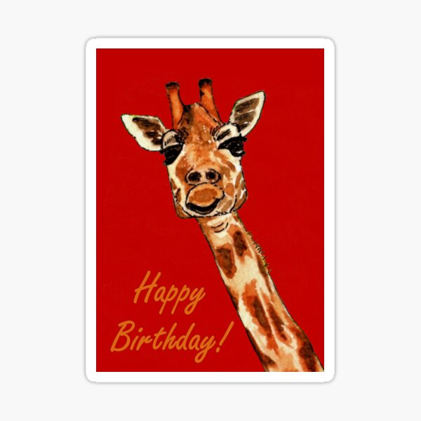 Giraffe - Birthday Card Sticker