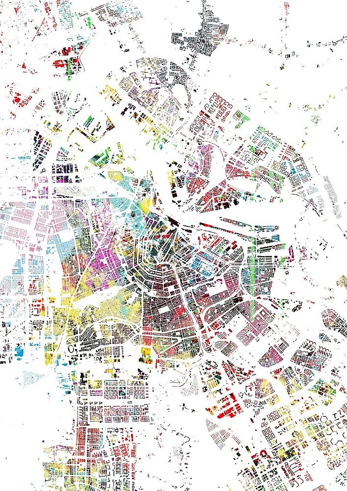 Amsterdam map watercolor painting by nicksman