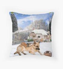 French German Shepherd Holiday Throw Pillow