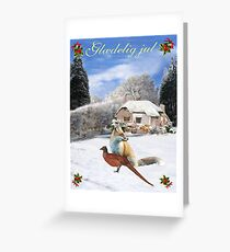 Danish Winter Garden Fox and Pheasant Greeting Card