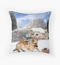 Danish German Shepherd Holiday Throw Pillow