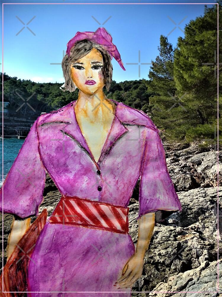 FASHION ILLUSTRATION WATERCOLOUR LILAC DRESS by IvanaKada