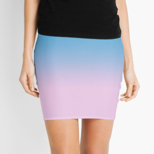 Pastel blue and pink gradient Mini Skirt