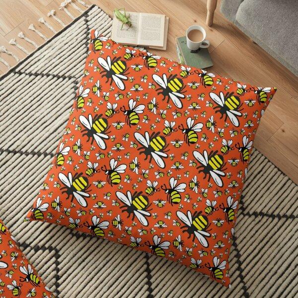 Buzzy Bee and his little ones in ORANGE Floor Pillow