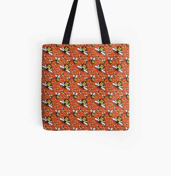 Buzzy Bee and his little ones in ORANGE All Over Print Tote Bag
