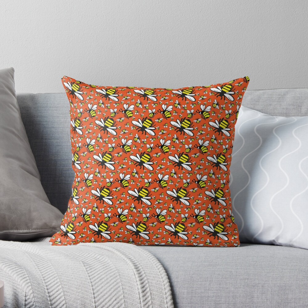 Buzzy Bee and his little ones in ORANGE Throw Pillow
