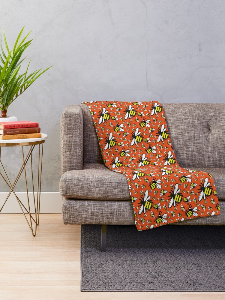Alternate view of Buzzy Bee and his little ones in ORANGE Throw Blanket