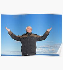 Middle-aged man on blue sky of the background. Poster