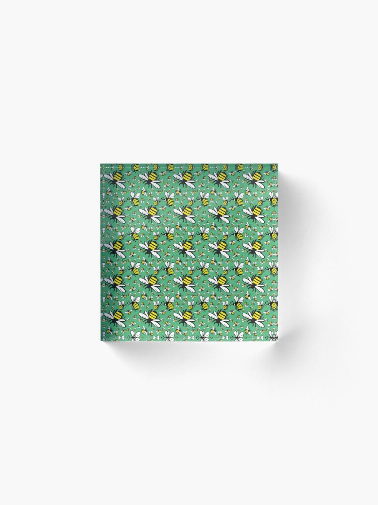Alternate view of Buzzy Bee and his little ones in VIBRANT MINT GREEN Acrylic Block