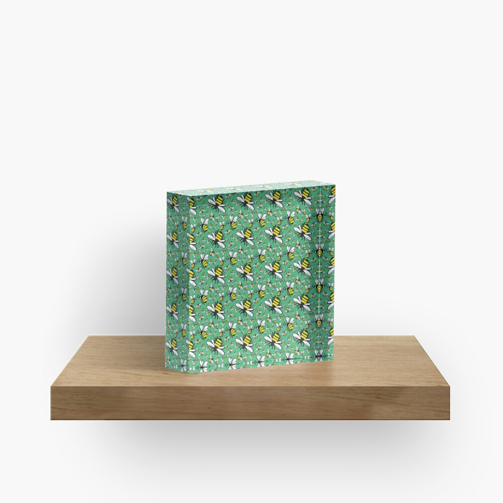 Buzzy Bee and his little ones in VIBRANT MINT GREEN Acrylic Block