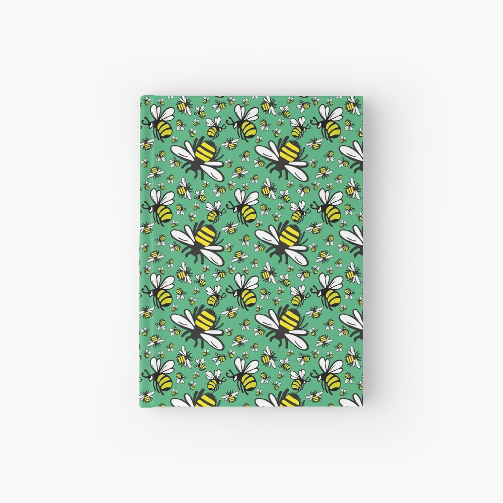 Buzzy Bee and his little ones in VIBRANT MINT GREEN Hardcover Journal