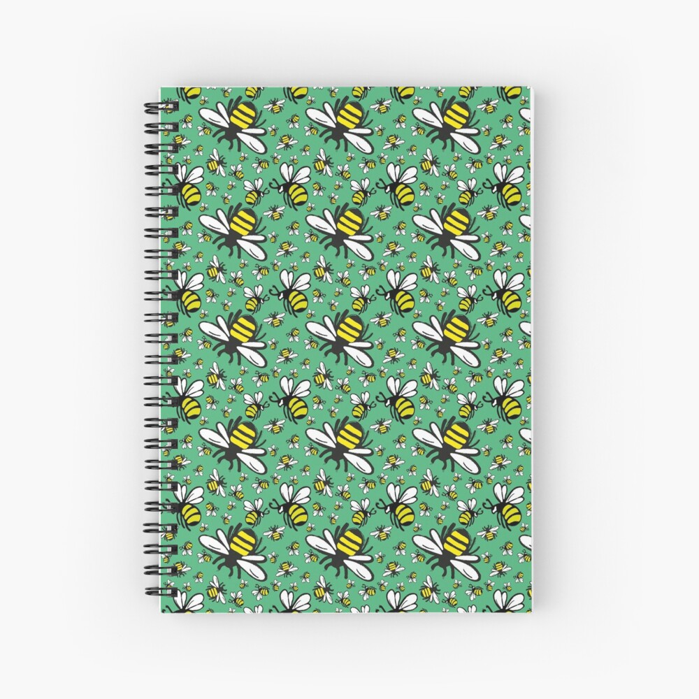 Buzzy Bee and his little ones in VIBRANT MINT GREEN Spiral Notebook