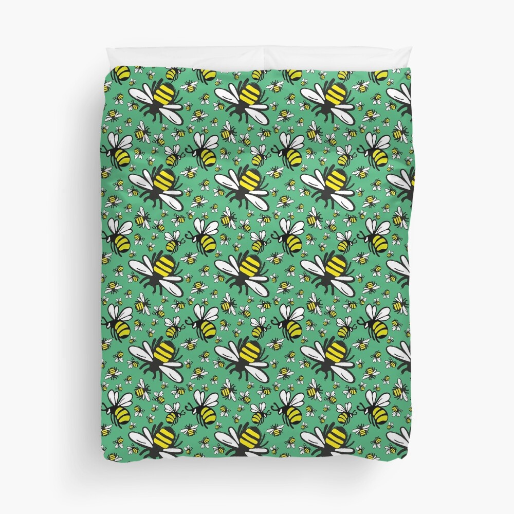 Buzzy Bee and his little ones in VIBRANT MINT GREEN Duvet Cover