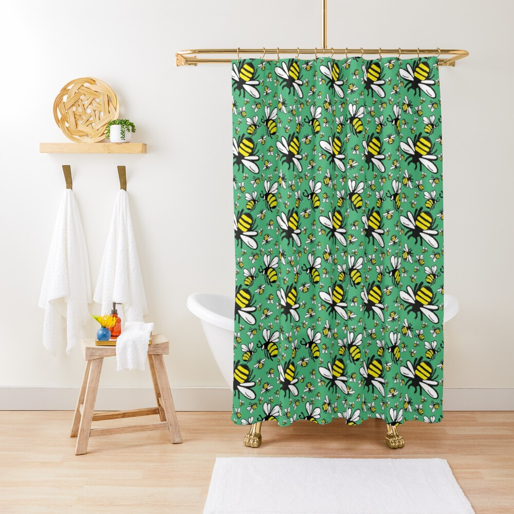 Buzzy Bee and his little ones in VIBRANT MINT GREEN Shower Curtain