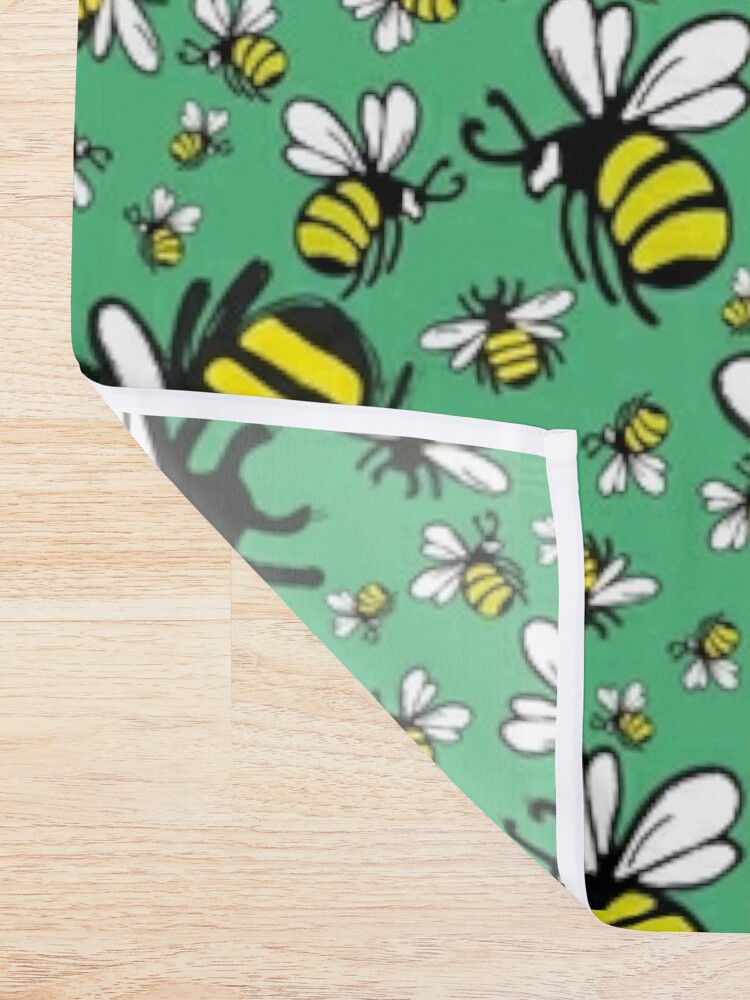 Alternate view of Buzzy Bee and his little ones in VIBRANT MINT GREEN Shower Curtain