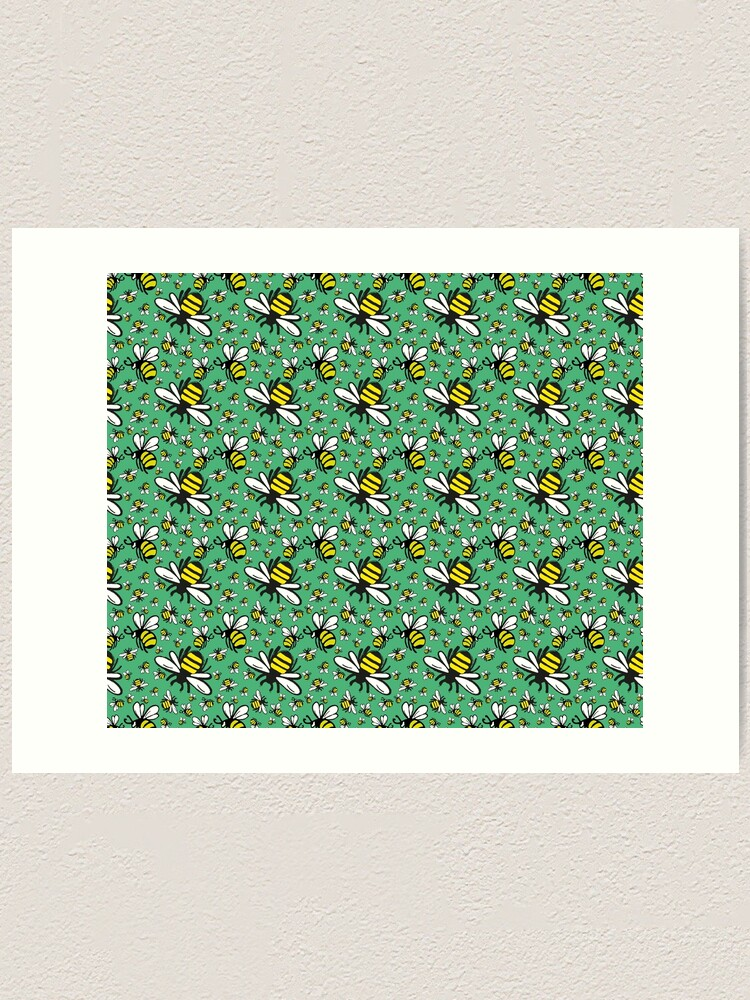 Alternate view of Buzzy Bee and his little ones in VIBRANT MINT GREEN Art Print