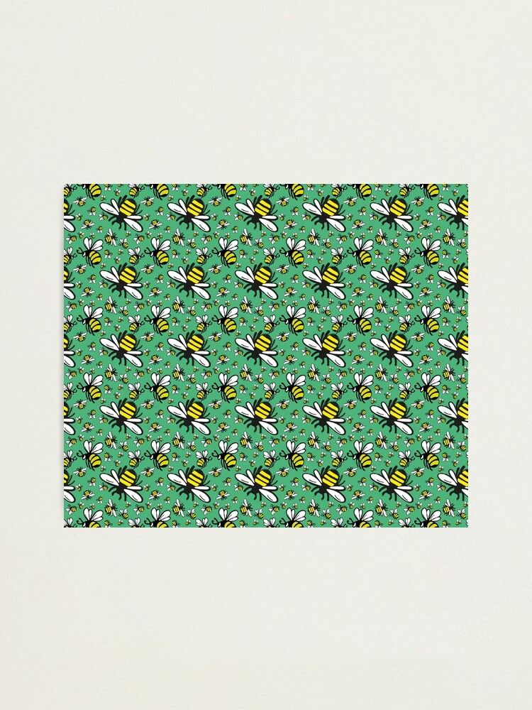 Alternate view of Buzzy Bee and his little ones in VIBRANT MINT GREEN Photographic Print