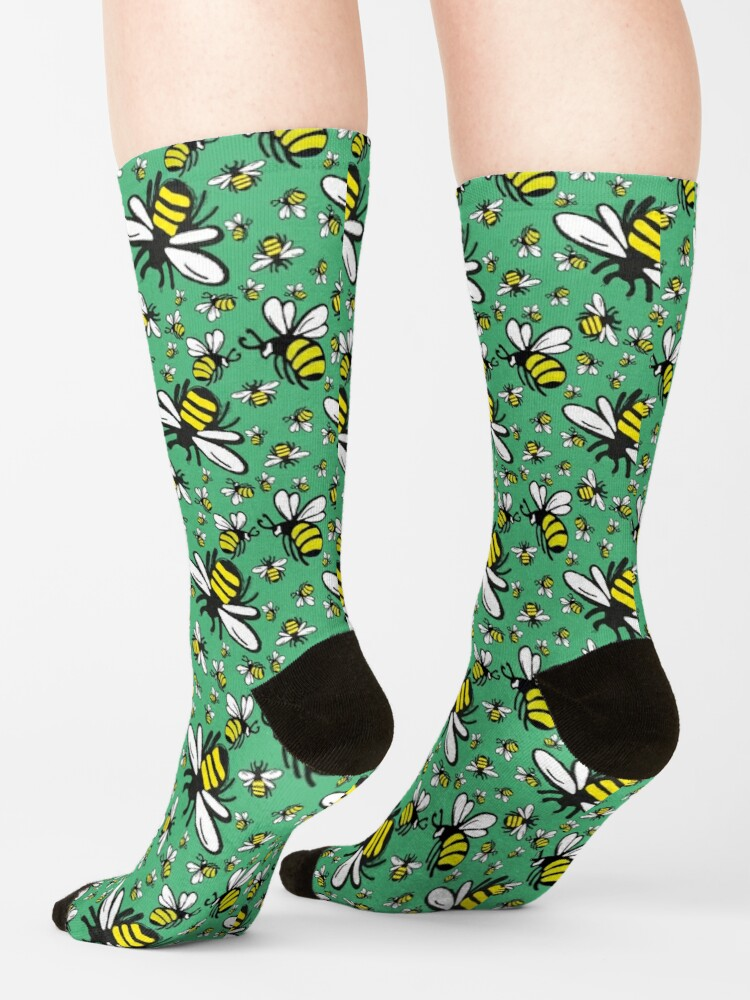 Alternate view of Buzzy Bee and his little ones in VIBRANT MINT GREEN Socks