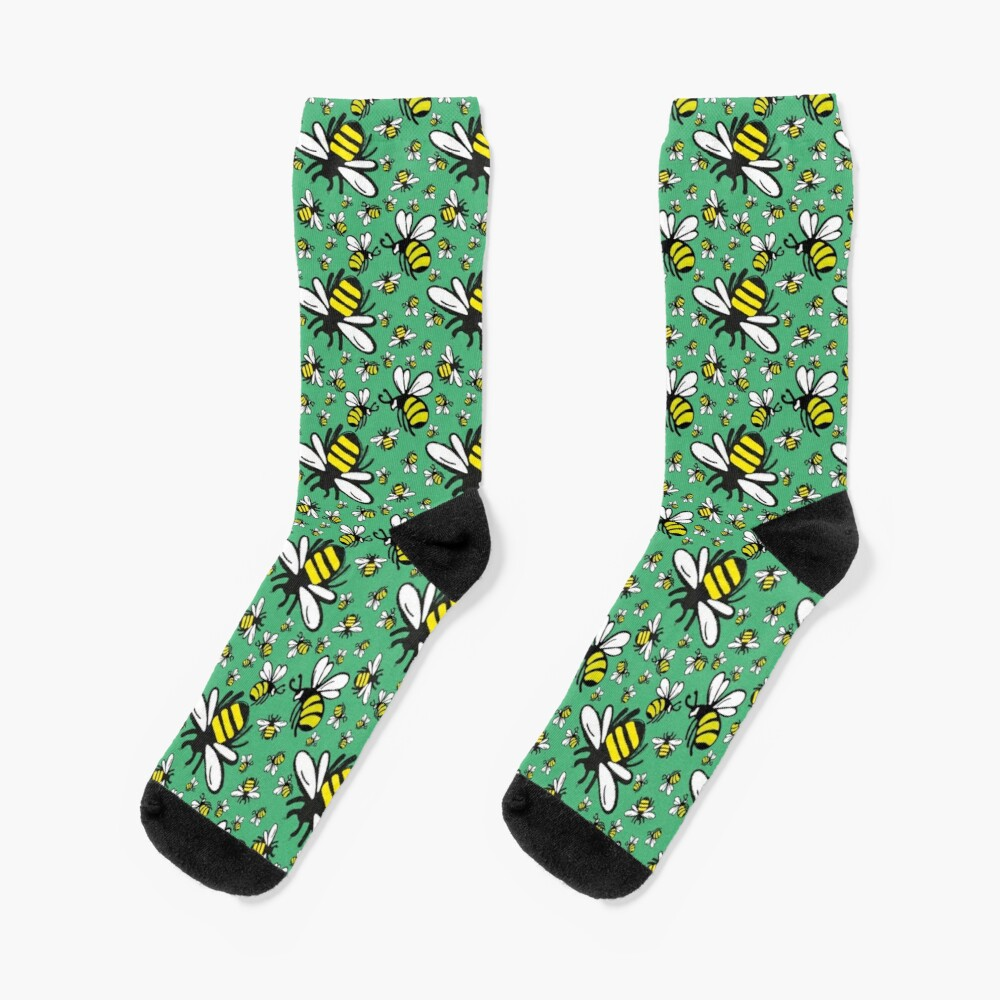 Buzzy Bee and his little ones in VIBRANT MINT GREEN Socks