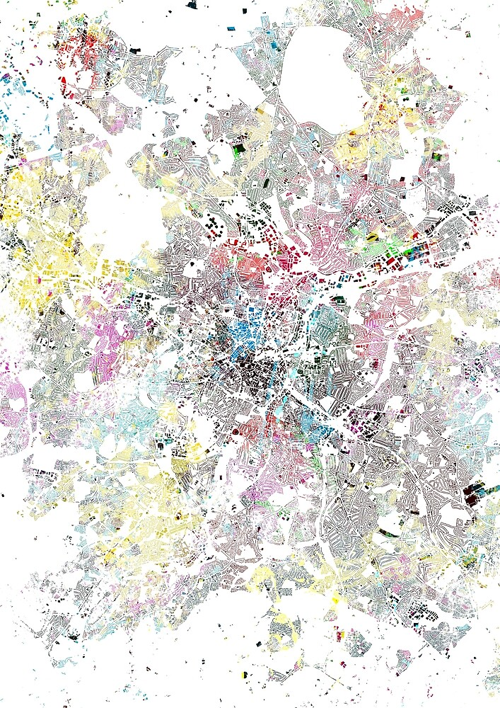 Birmingham map splash painting by nicksman