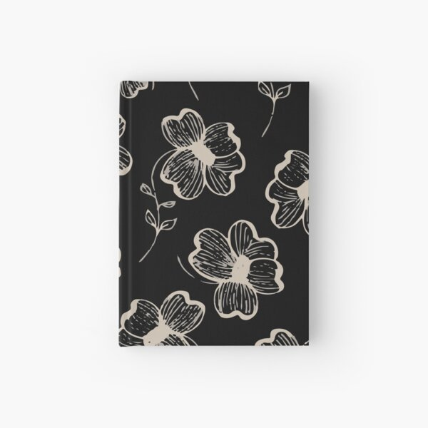 Pretty Pansy in Cream & Black Hardcover Journal
