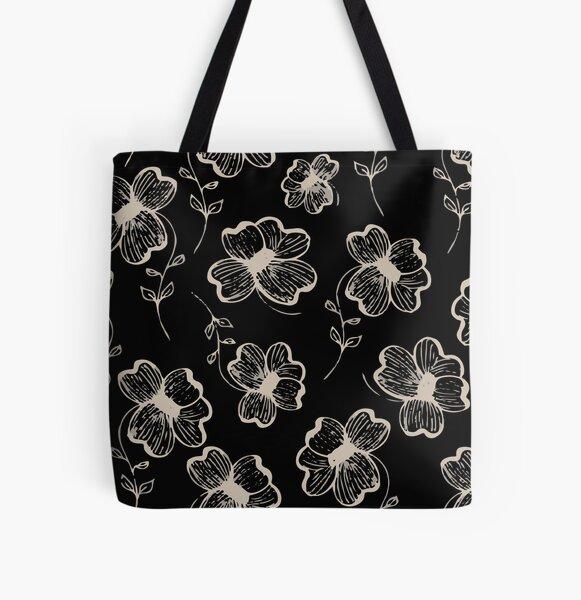 Pretty Pansy in Cream & Black All Over Print Tote Bag