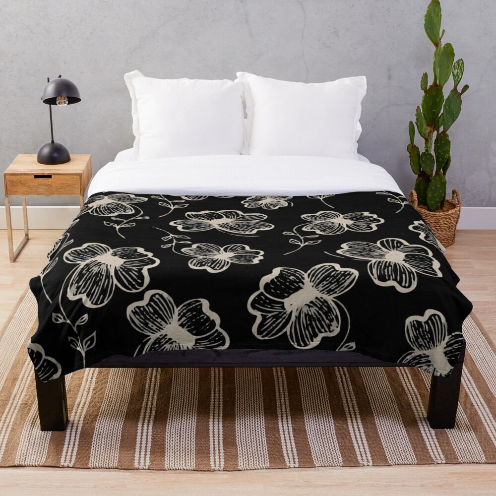 Pretty Pansy in Cream & Black Throw Blanket