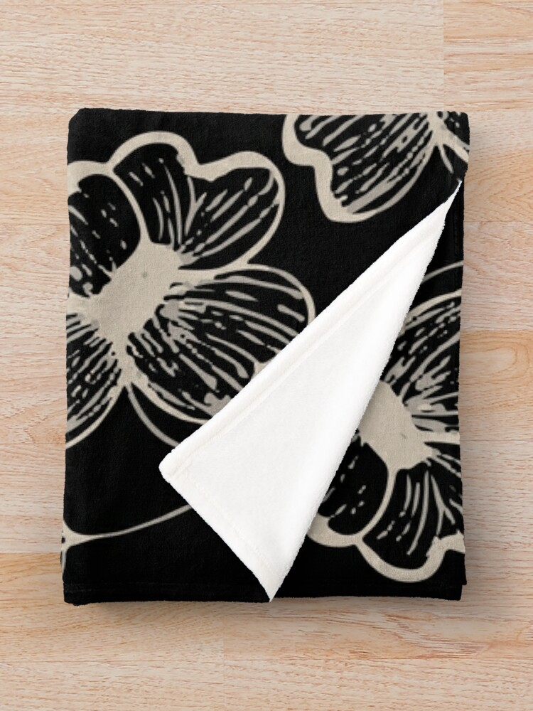 Alternate view of Pretty Pansy in Cream & Black Throw Blanket