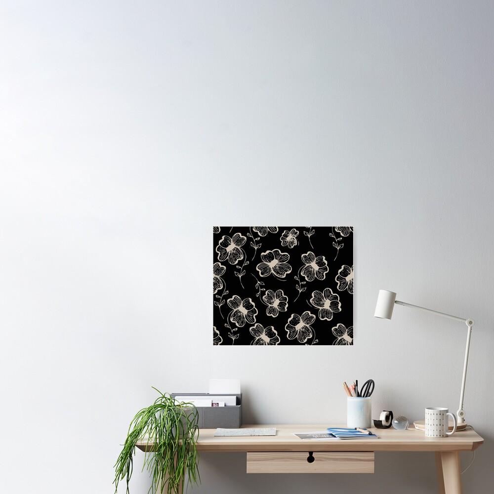 Pretty Pansy in Cream & Black Poster