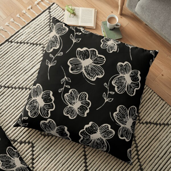 Pretty Pansy in Cream & Black Floor Pillow