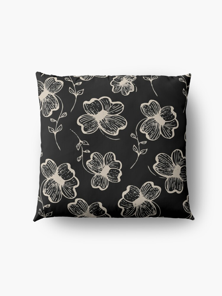 Alternate view of Pretty Pansy in Cream & Black Floor Pillow