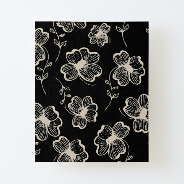 Pretty Pansy in Cream & Black Canvas Mounted Print