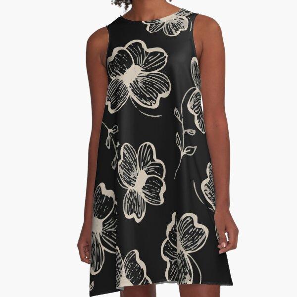 Pretty Pansy in Cream & Black A-Line Dress