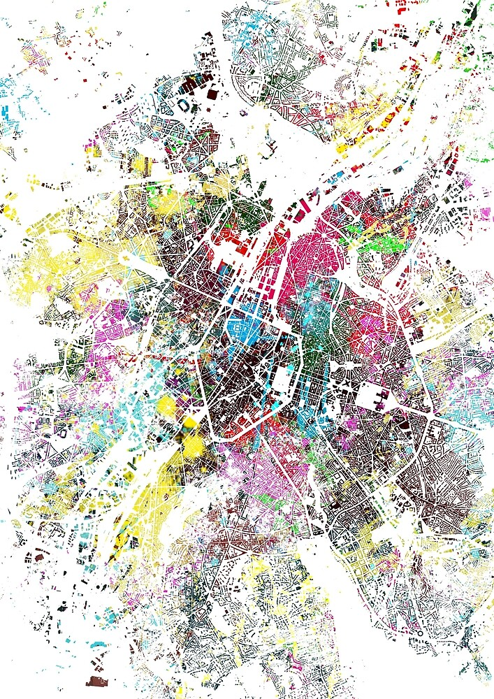 Brussels map splash painting by nicksman