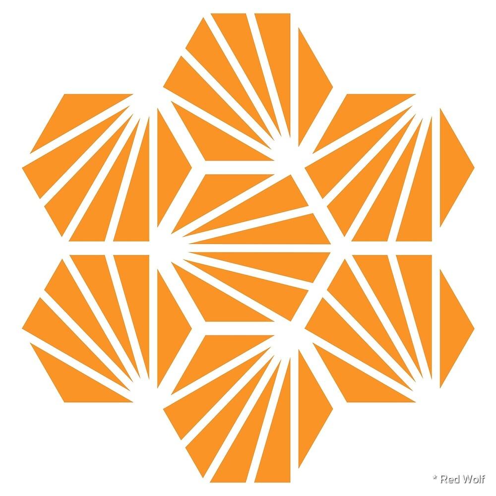 Geometric Pattern: Hexagon Ray: Orange White by * Red Wolf