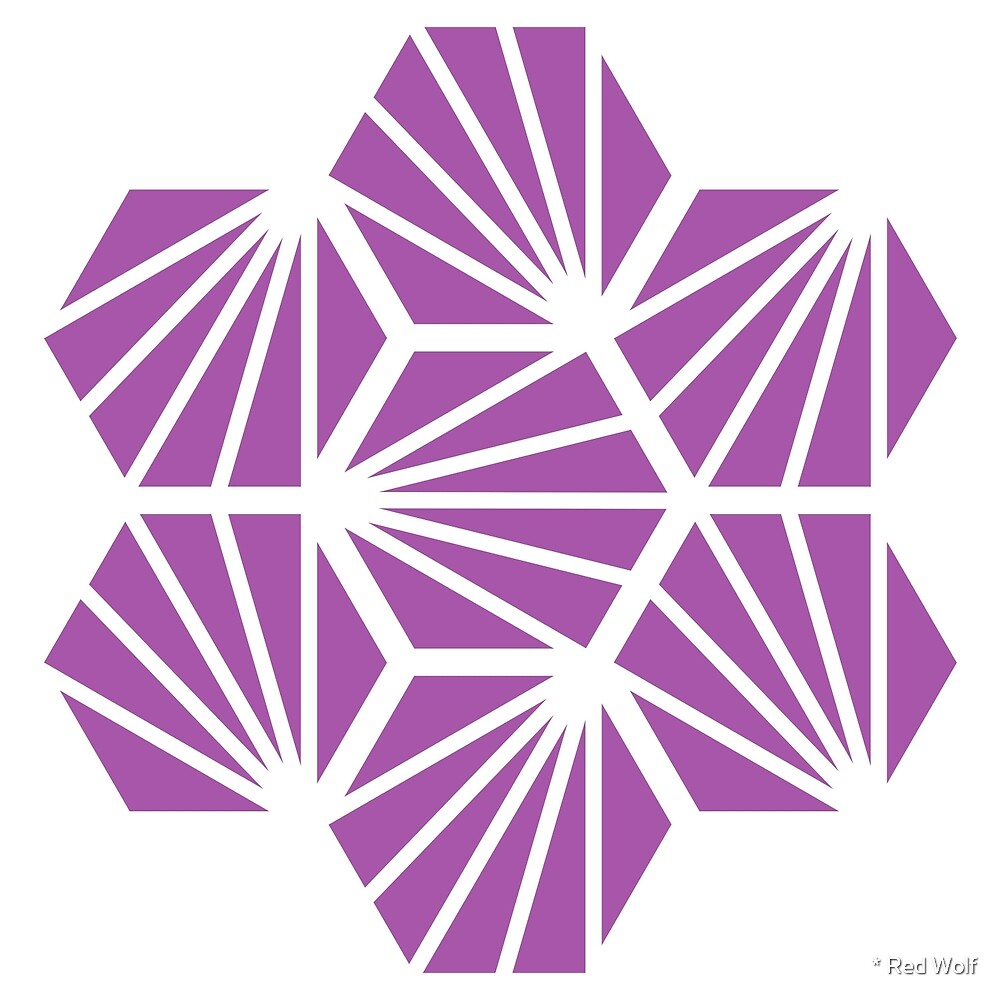 Geometric Pattern: Hexagon Ray: Purple White by * Red Wolf