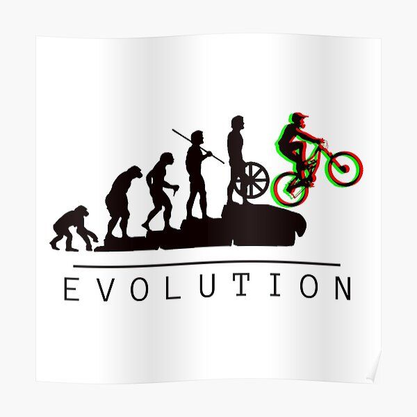Mountain Bike Wheelie Evolution Poster