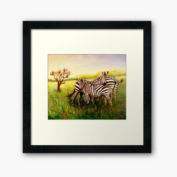 Zebras at Ngorongoro Crater Framed Art Print