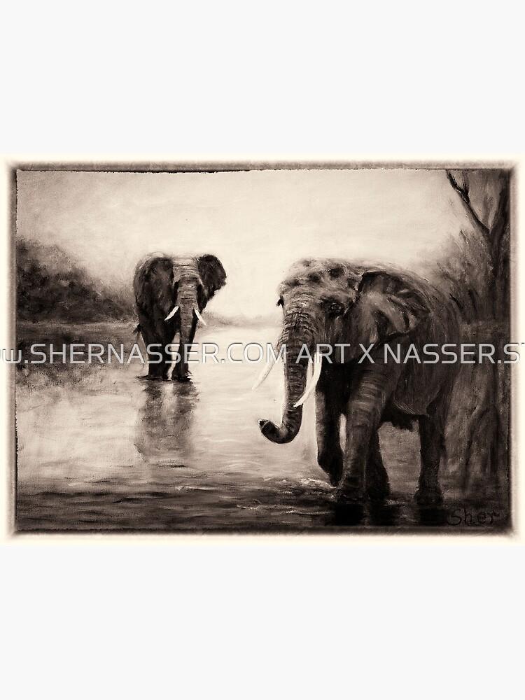 African Elephants at Sunset by shernasser