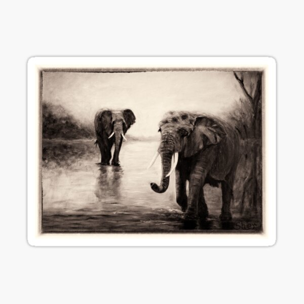 African Elephants at Sunset Sticker