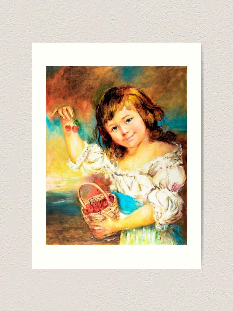Alternate view of Cherry Basket girl. Art Print
